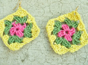 pink / green / yellow granny square earrings