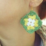 white / yellow / green granny square earrings