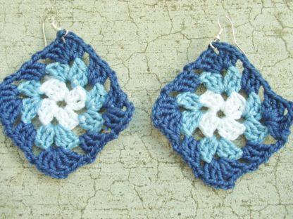 white / light blue / dark blue granny square earrings