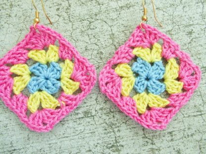 light blue yellow and pink granny square crocheted earrings