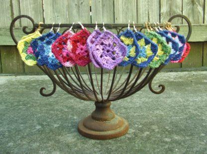 crocheted granny square earrings