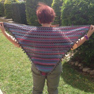 pink grey blue granny shawl