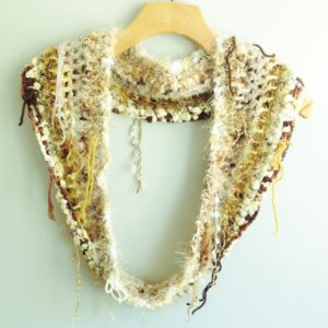 gold brown boho infinity scarf