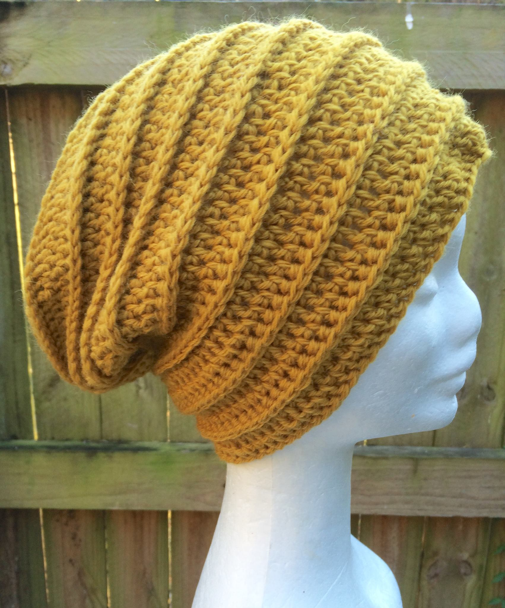 Crocheted Slouchy Beanie In Mustard Yellow With A Textured Ribbed