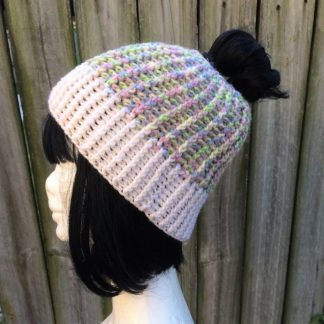 Multicoloured ponytail beanie